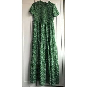 Zara Floral Maxi Green Smock Dress